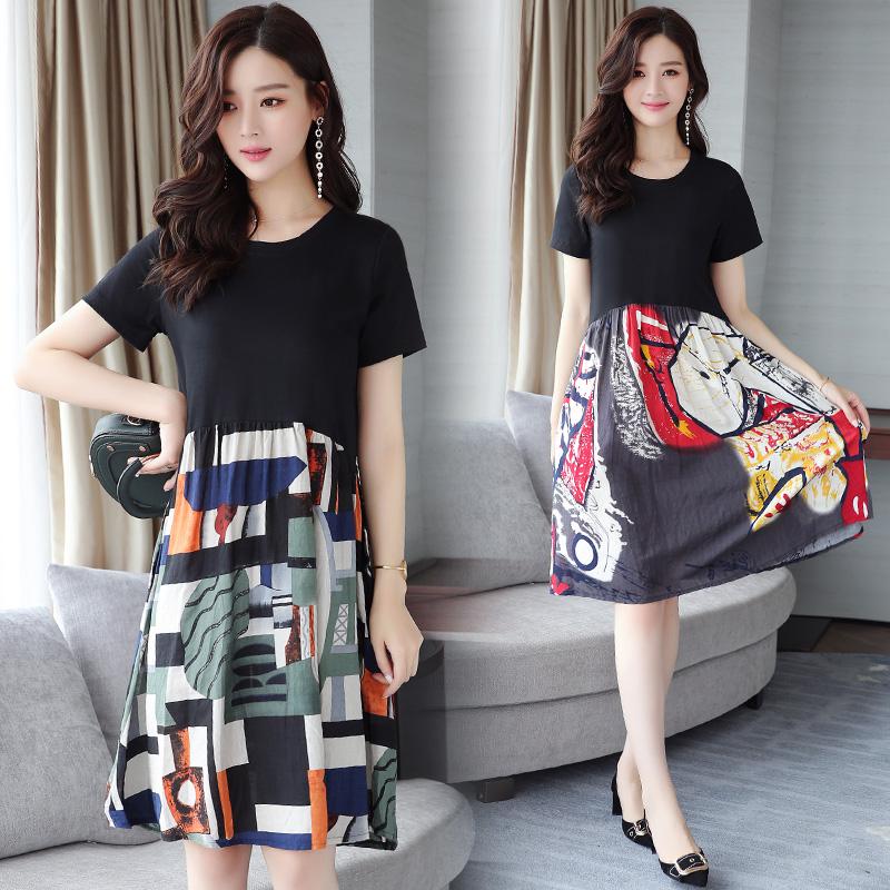 布景女装官方旗舰店艾利�W2018夏装新款乔拉菲专柜大码连衣裙韩