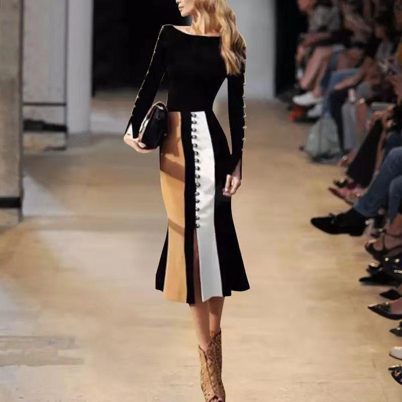 欧洲站2018年秋冬明星走秀新款高端名媛女装套裙修身显瘦两件套装