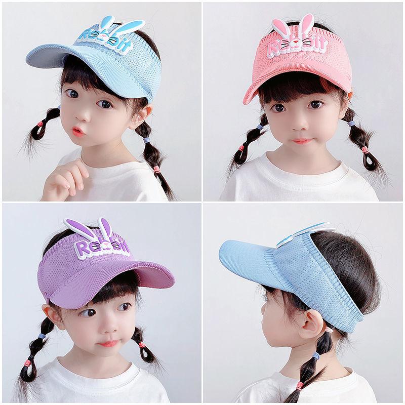 儿童空顶遮阳帽夏季可爱兔子男女童防晒帽子