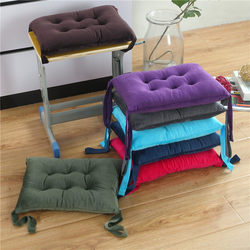Crystal velvet cushion soft thickening student classroom bench small cushion with straps square stool kindergarten chair cushion butt cushion