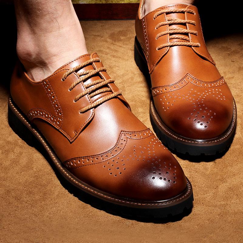 新款男士皮鞋英伦布洛克雕花百搭休闲鞋真皮男鞋夏季复古鞋子男潮