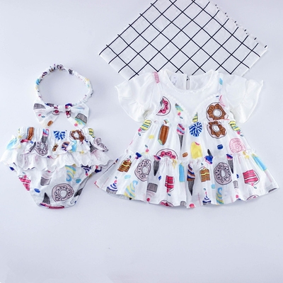 Children's clothing girl fresh floral suits summer new baby girl doll shirt T-shirt + shorts 3 sets