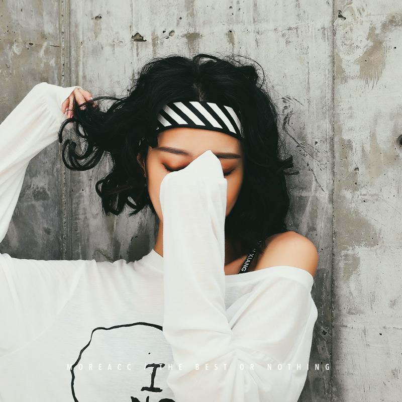 韩国束发带个性街头潮人嘻哈洗脸v个性宽边ins男士头巾欧美头带女