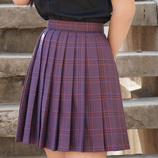 JK uniform skirt plaid pleated skirt purple orchid among Japanese girls school uniform skirt high waist skirt debit adjustment