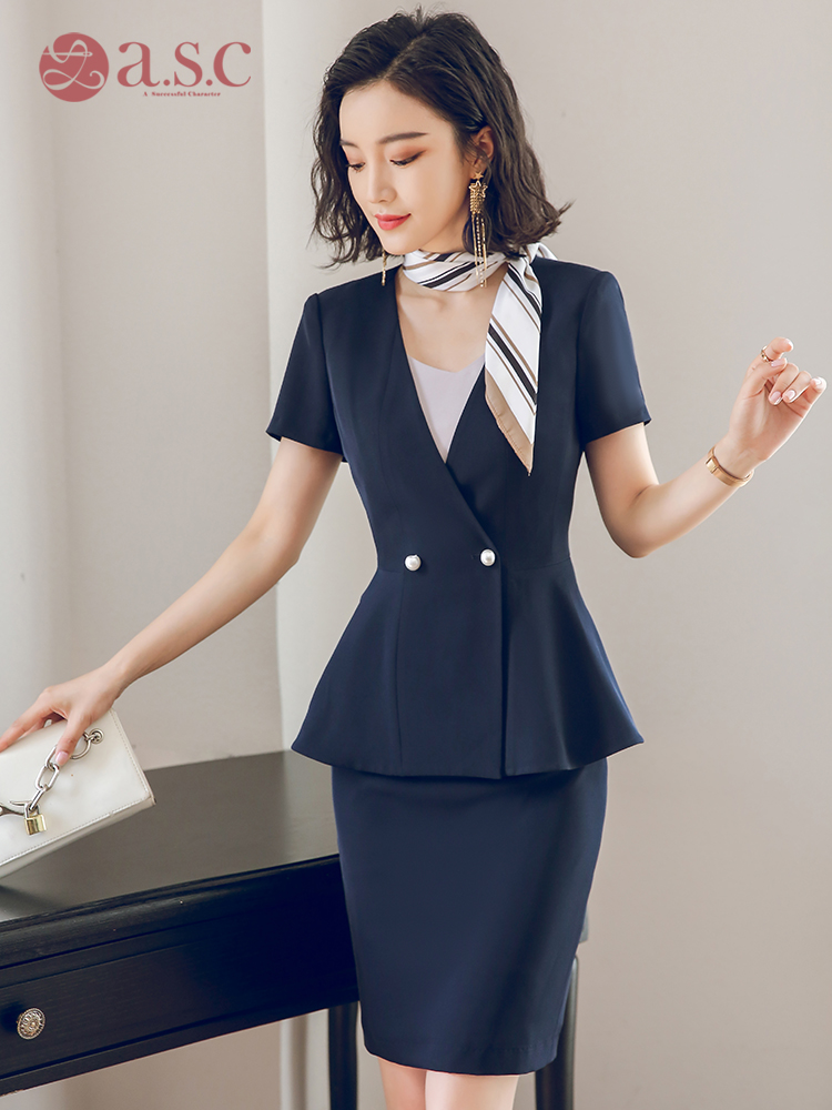 艾尚臣职业装短袖女装套装套裙工装夏装大码OL空姐气质制服工作服