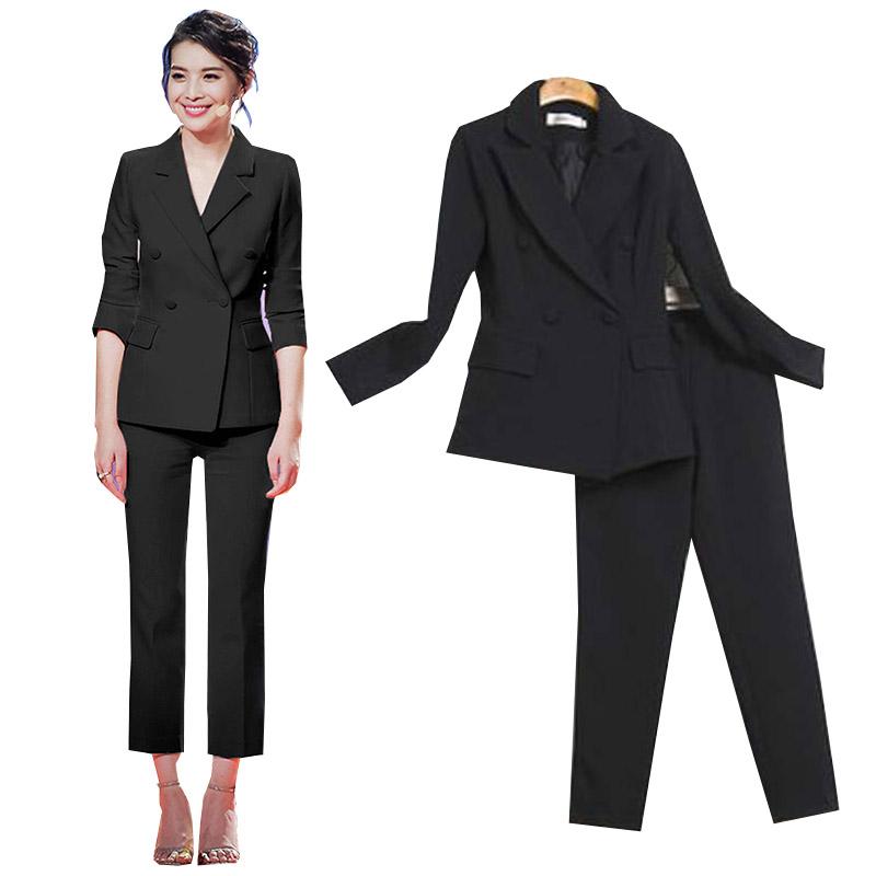 纯黑时尚女裤职业套装白色两件套韩国修身显瘦双排扣小西装外套潮