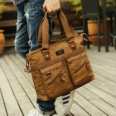 Business men's bag shoulder bag canvas casual Messenger bag Korean version of the tide men's bag handbag cross section briefcase male
