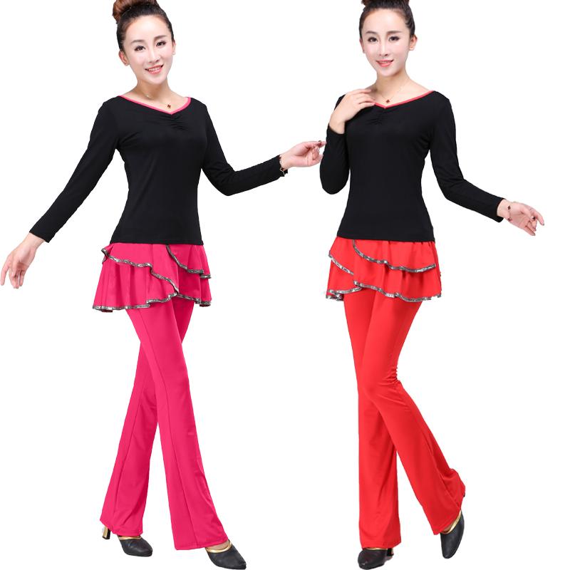 Ни до сих пор кадриль одежда новый юбка-брюки латинский танец хакама низы брюки женщин Весна-Лето большие код