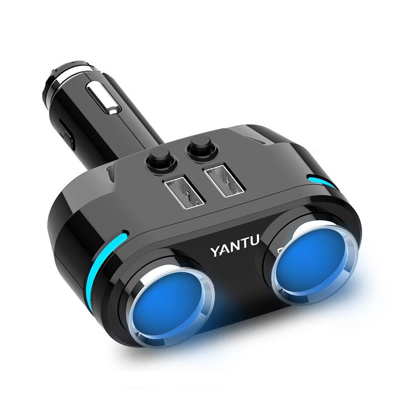 车载点烟器一拖三多功能电源插头汽车用一拖二转换USB充电器插座