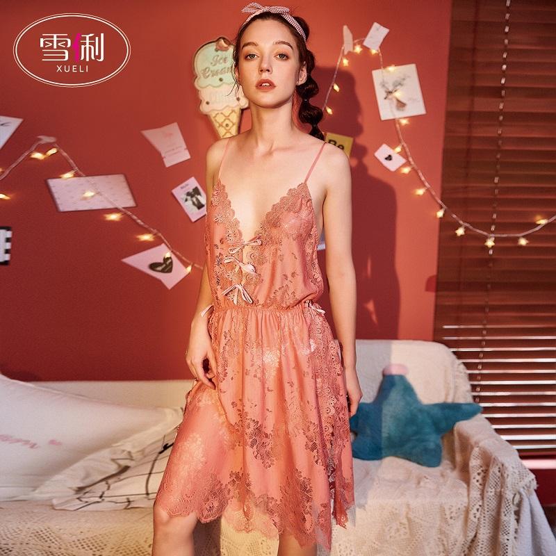 雪俐睡衣女夏性感睡衣吊带睡裙蕾丝花边情趣薄款网红爆款家居服