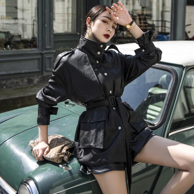 外套皮衣女春秋2019新款韩版宽松机车pu皮中长款收腰帅气口袋时尚