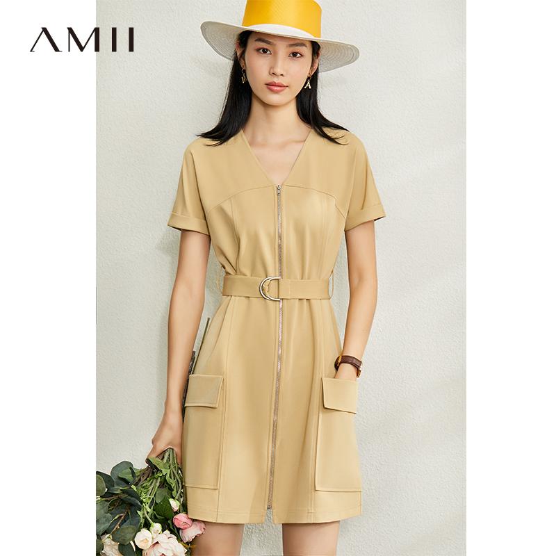 Amii极简工装腰带风连衣裙2020夏季新款直筒V领配拉链时尚中裙