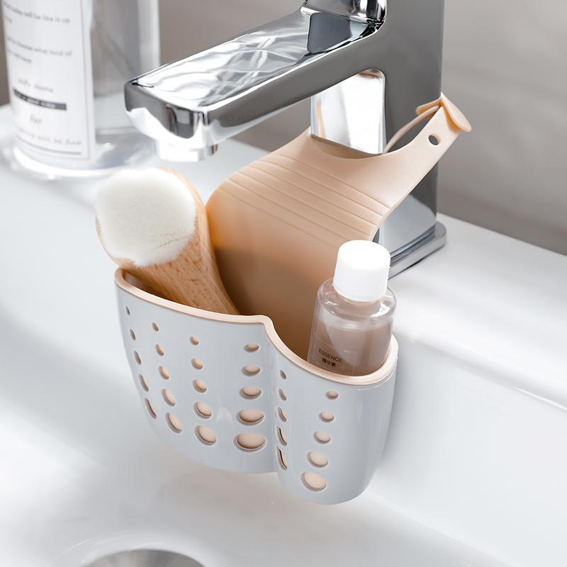 日本厨房置物架水龙头沥水架可调节塑料收纳架水槽收纳挂篮沥水篮