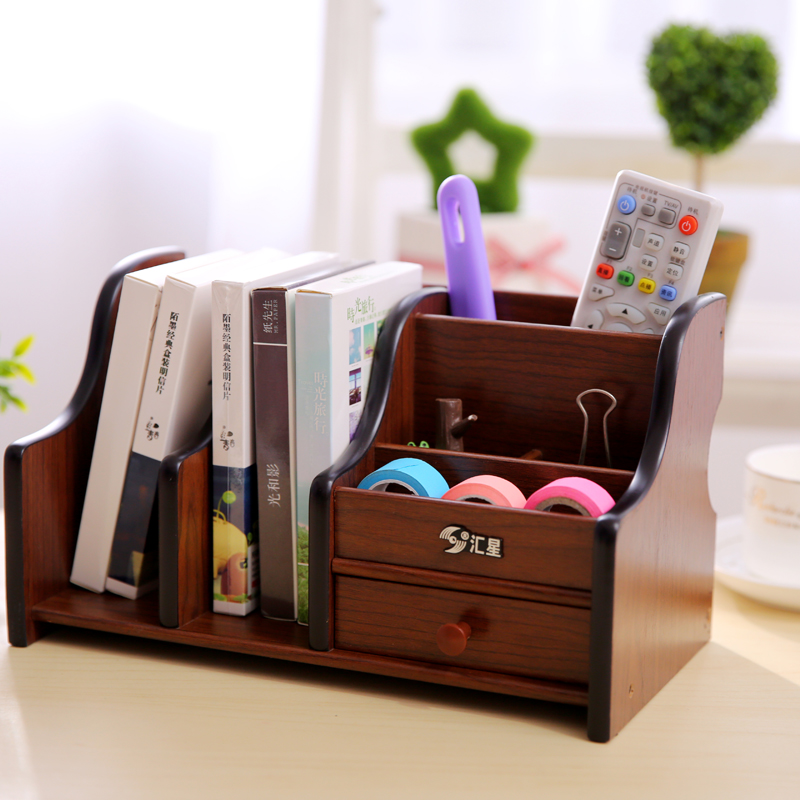 Wooden Pen Holder High End Creative Drawer Office Supplies Multi Function  Pen Holder Personality