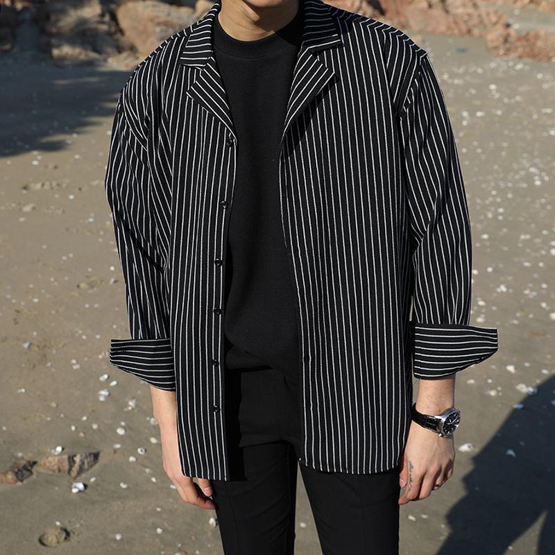 @港仔文艺男 韩版春季男士简约条纹休闲长袖衬衫百搭青年男衬衣潮