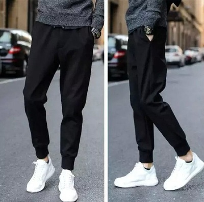 2018 spring new pants male youth sports pants Korean version of the trend of casual pants Slim closed mouth feet trousers