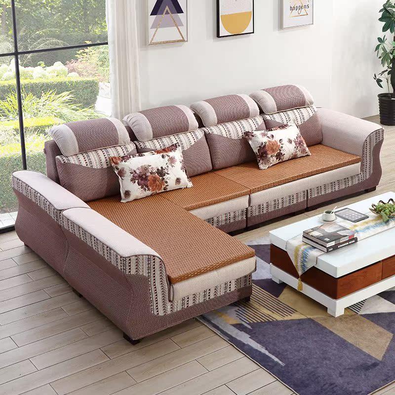布艺沙发冬夏两用加藤板简约现代户型v两用可拆洗沙发客厅大小贵妃