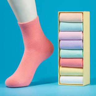 高品质!韩版棉女士纯色中筒袜8双装