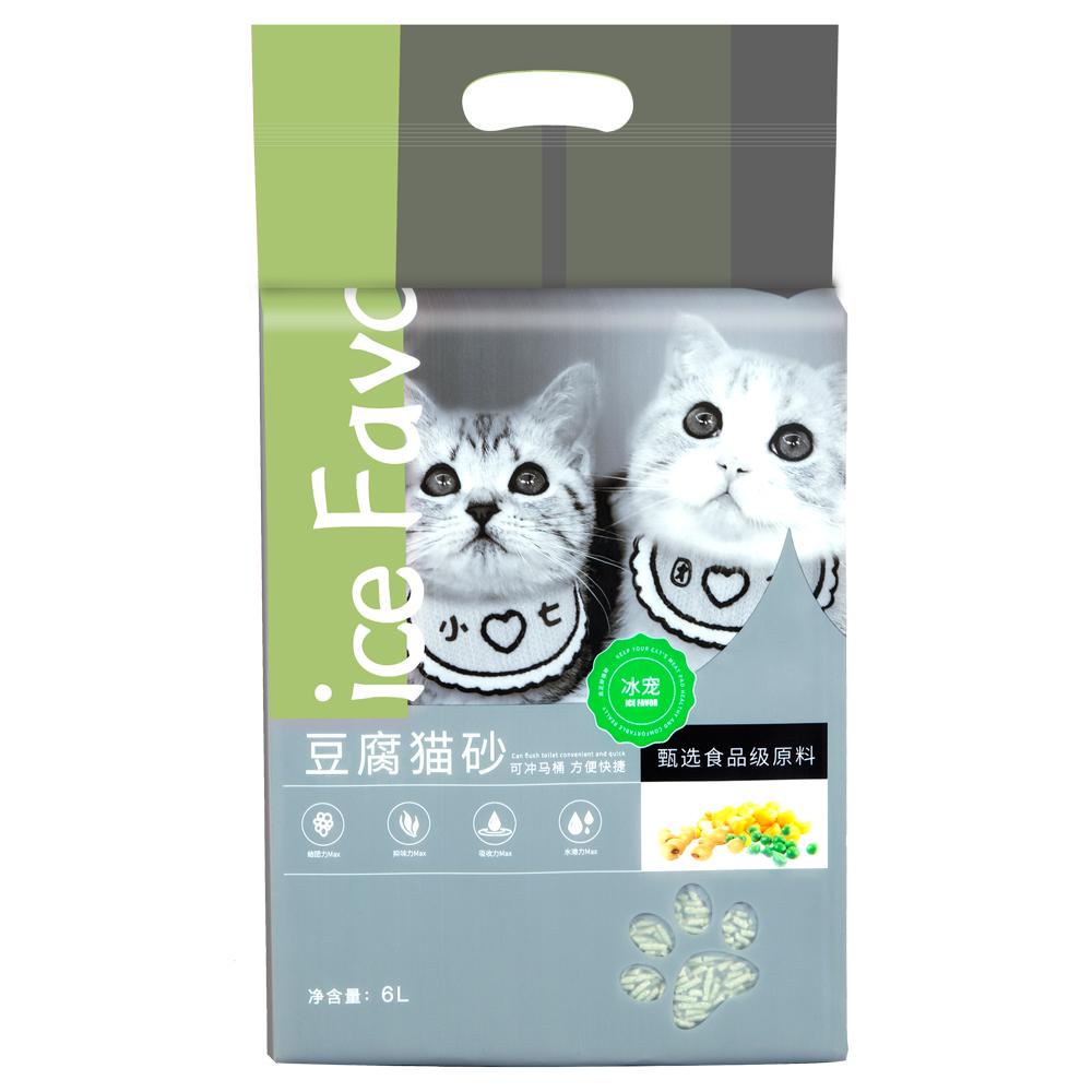 冰宠 绿茶豆腐猫砂除臭无尘薄荷小颗粒猫咪豆腐砂奶香味可冲厕所