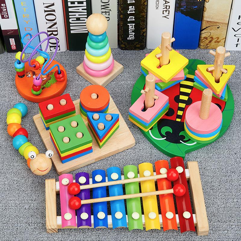 儿童6-12个月v儿童早教婴儿形状积木益智玩具1-2-3周岁女宝宝男孩0