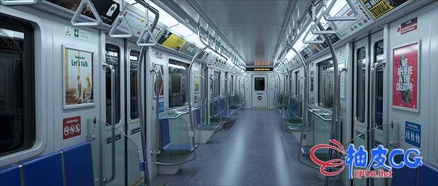 3DSMAX & OC城市地铁内部精细精细场景3D模型