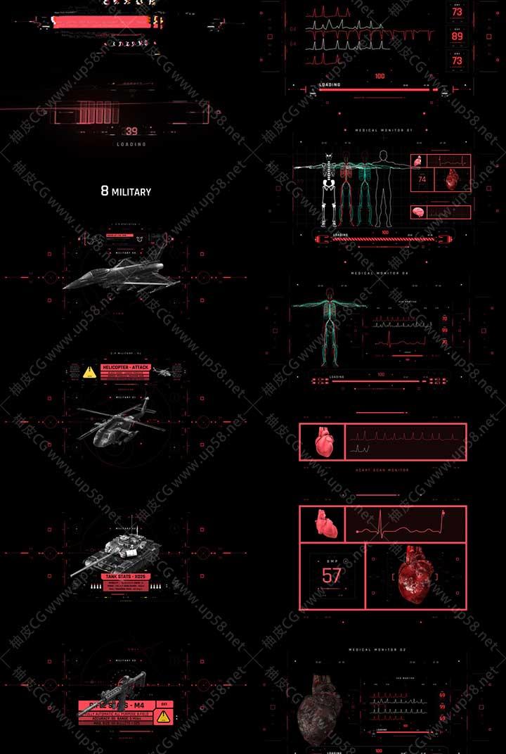 AE脚本 500+未来科幻军事雷达医疗警告HUD图形用户界面动画元素
