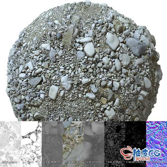 4K / 8K高清真实砾石碎石铁轨PBR贴图纹理素材 + C4D模型实例