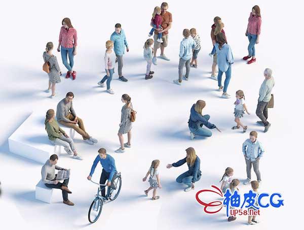 3DSMAX / C4D / Rhino / SU精细男女人物角色3D模型素材包