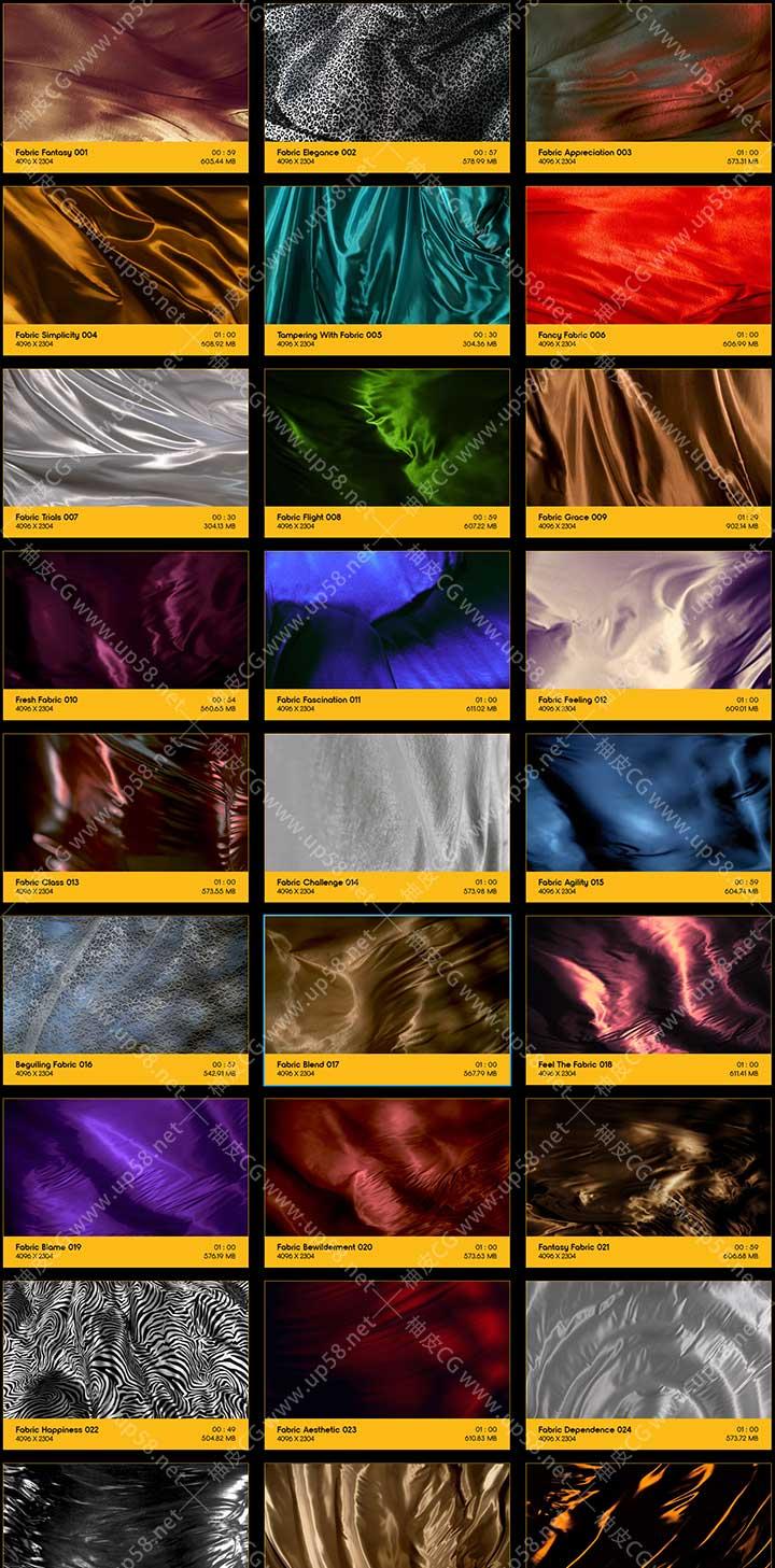 128组丝绸绸缎织物布料流畅波动FX背景动画 4K高清视频素材