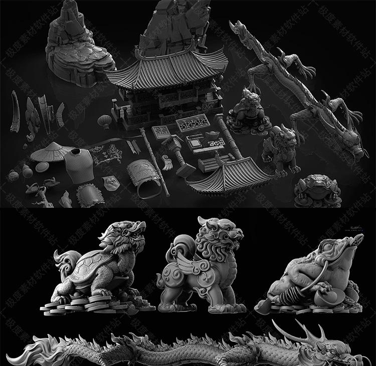 中国古典传统建筑神兽图腾蟾蜍貔貅龙亭台楼阁假山元宝灯笼3D模型