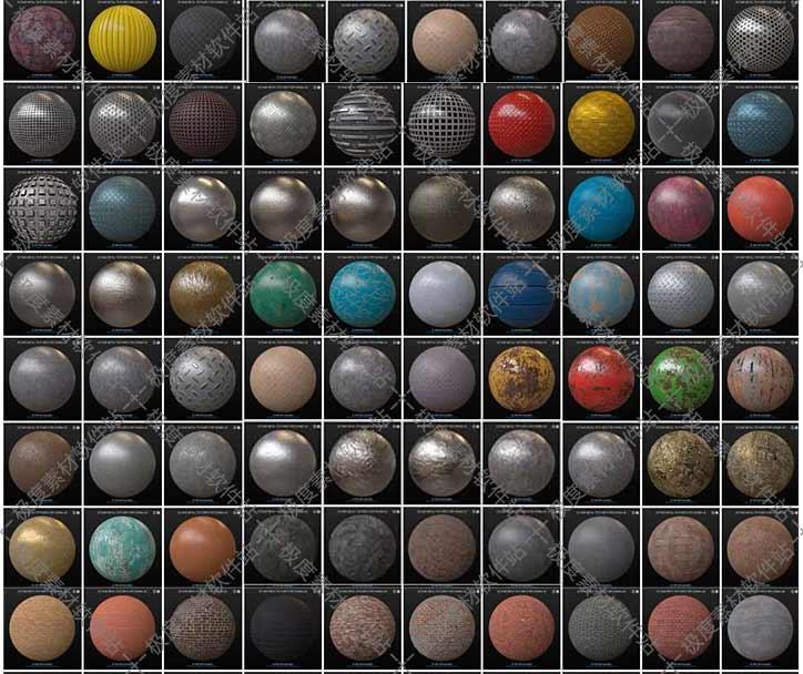 VRay for C4D渲染器超1000个室内外建筑工业设计3D材质球纹理库预设