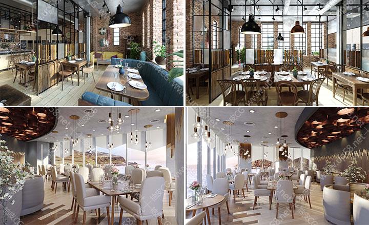 3dsmax VRay高品质餐厅 酒吧酒馆咖啡馆室内场景3D模型