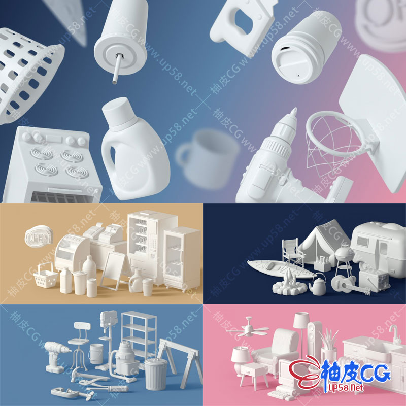 180个C4D 3DSMAX卡通呆萌日常居家用品探险器材车间工具3D模型库