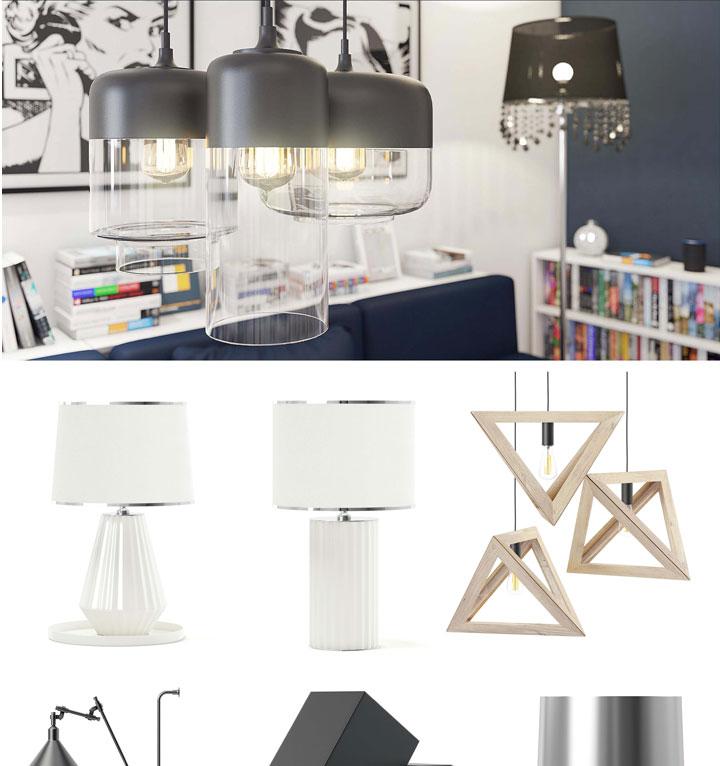 60款3dsmax C4D VRay室内装饰设计吸顶灯台灯落地灯卤素灯高精度3D模型合集