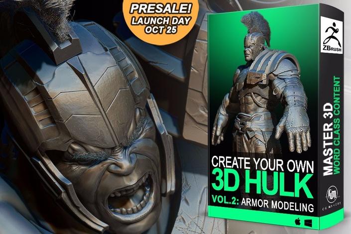 ZBrush雕刻逼真绿巨人3D模型及姿势渲染全面视频教程