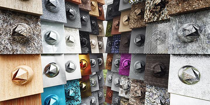 Blender金属混泥土木头塑料大理石皮革玻璃沙滩材质球素材库