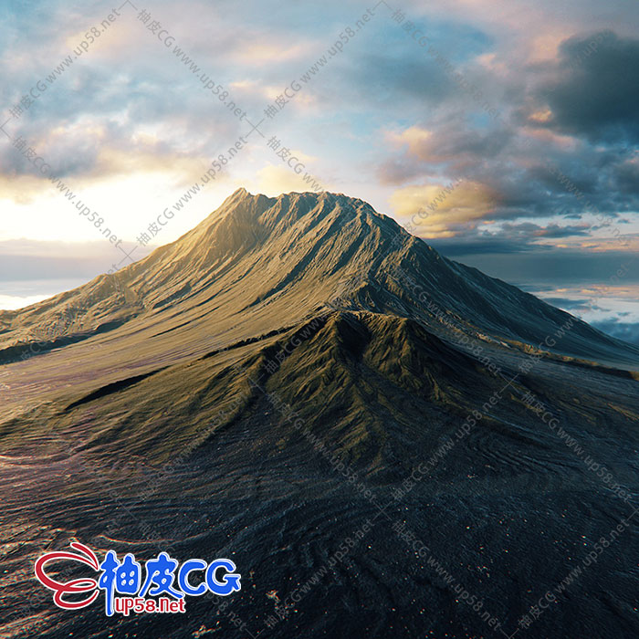 E3D/OBJ山脉雪山火山外星地形地貌3D模型 8K高清贴图 Element 3D