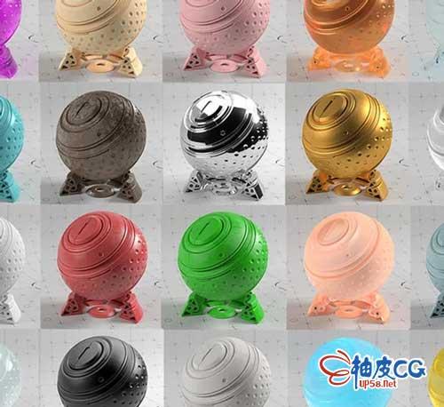 30+种C4D / Redshift金属塑料半透明材质球预设