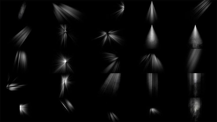 Photoshop酷炫光线光效丁达尔光笔刷+高清光效叠加素材