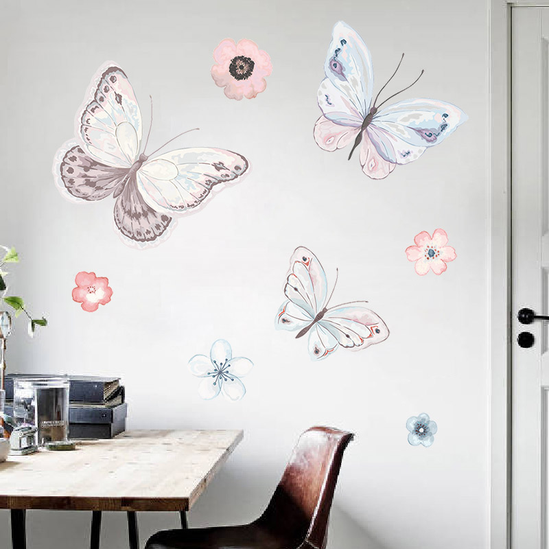 Creative wallpaper self-adhesive bedroom warm stickers butterfly wall  stickers small fresh wallpaper room decorations waterproof stickers