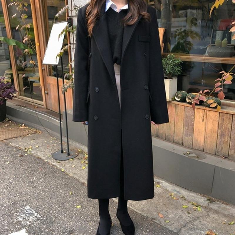 2019新款秋冬显瘦学生装毛呢大衣女中长款气质宽松过膝加厚女外套