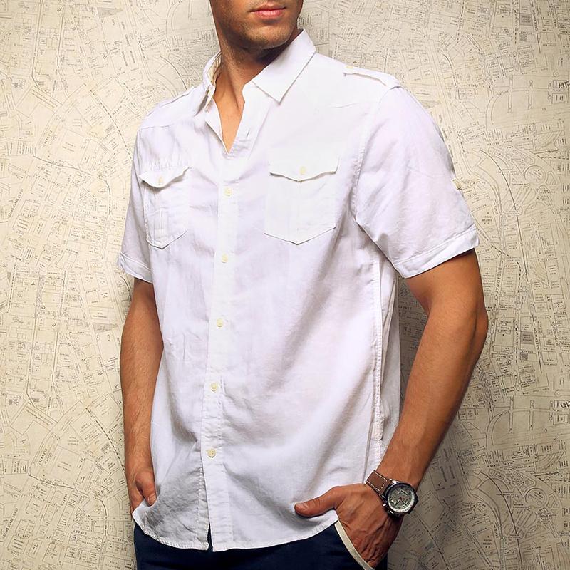 夏季薄款亚麻衬衫男士短袖白色双口袋肩章休闲棉麻衬衣工装上衣潮