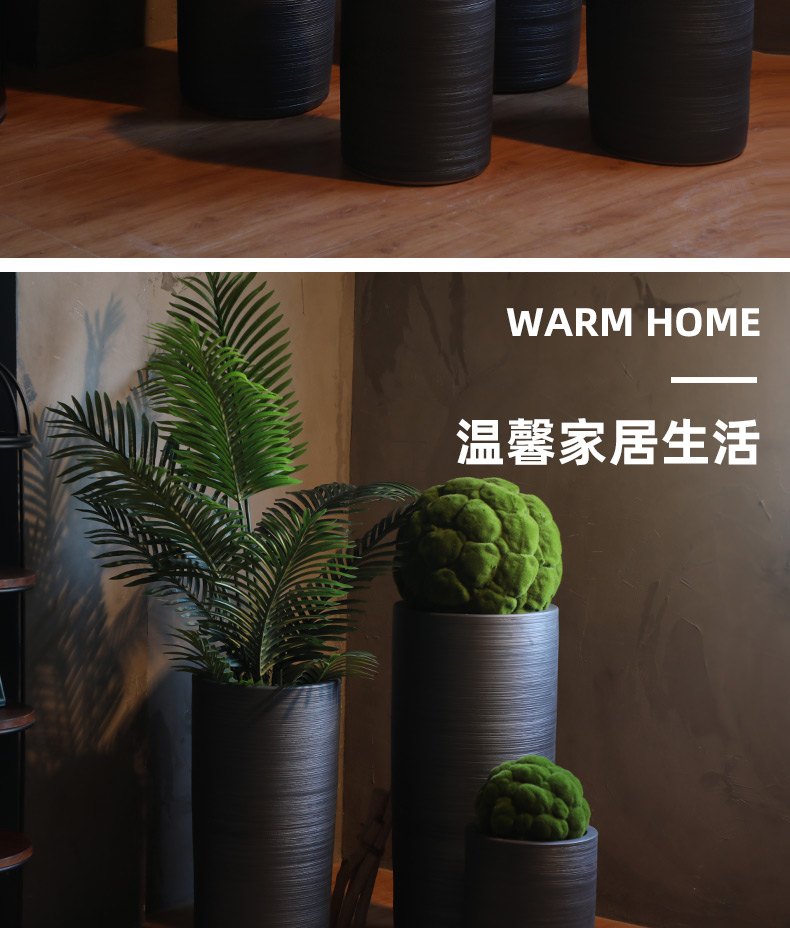Ceramic floor big vase dated Chinese pottery sitting room place the dried flower arrangement coarse pottery flowerpot ornaments
