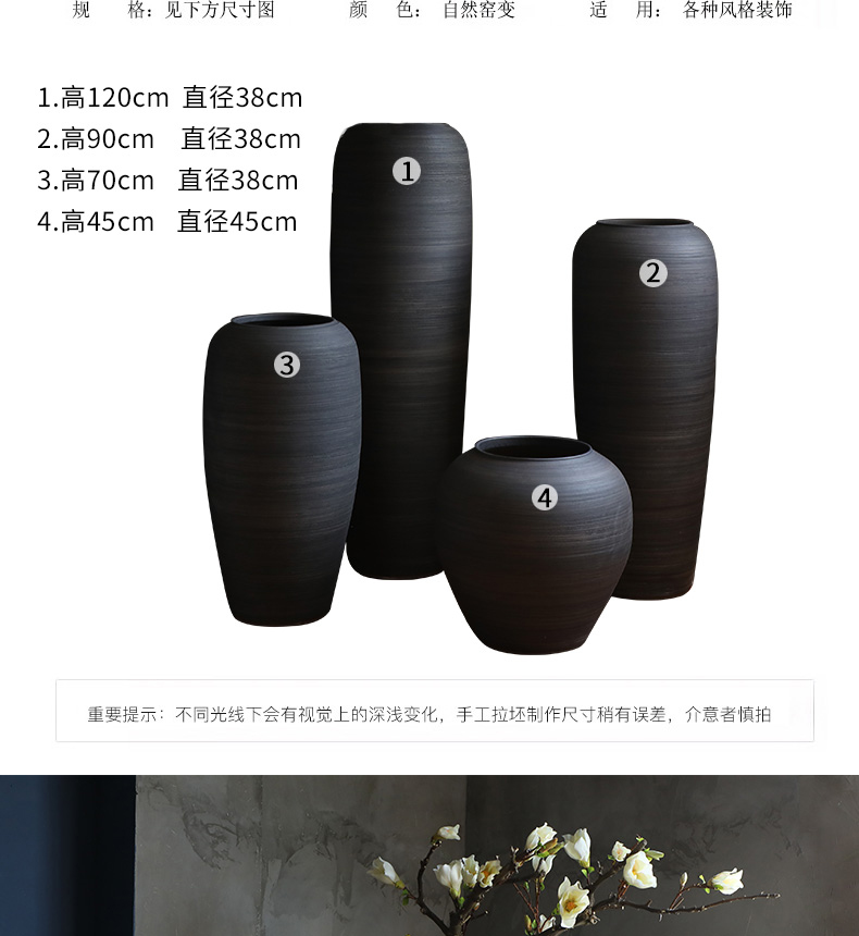 Chinese style restoring ancient ways of large vases, ceramic furnishing articles pottery sitting room hotel decoration flower arranging dried flowers thick ceramic bottle