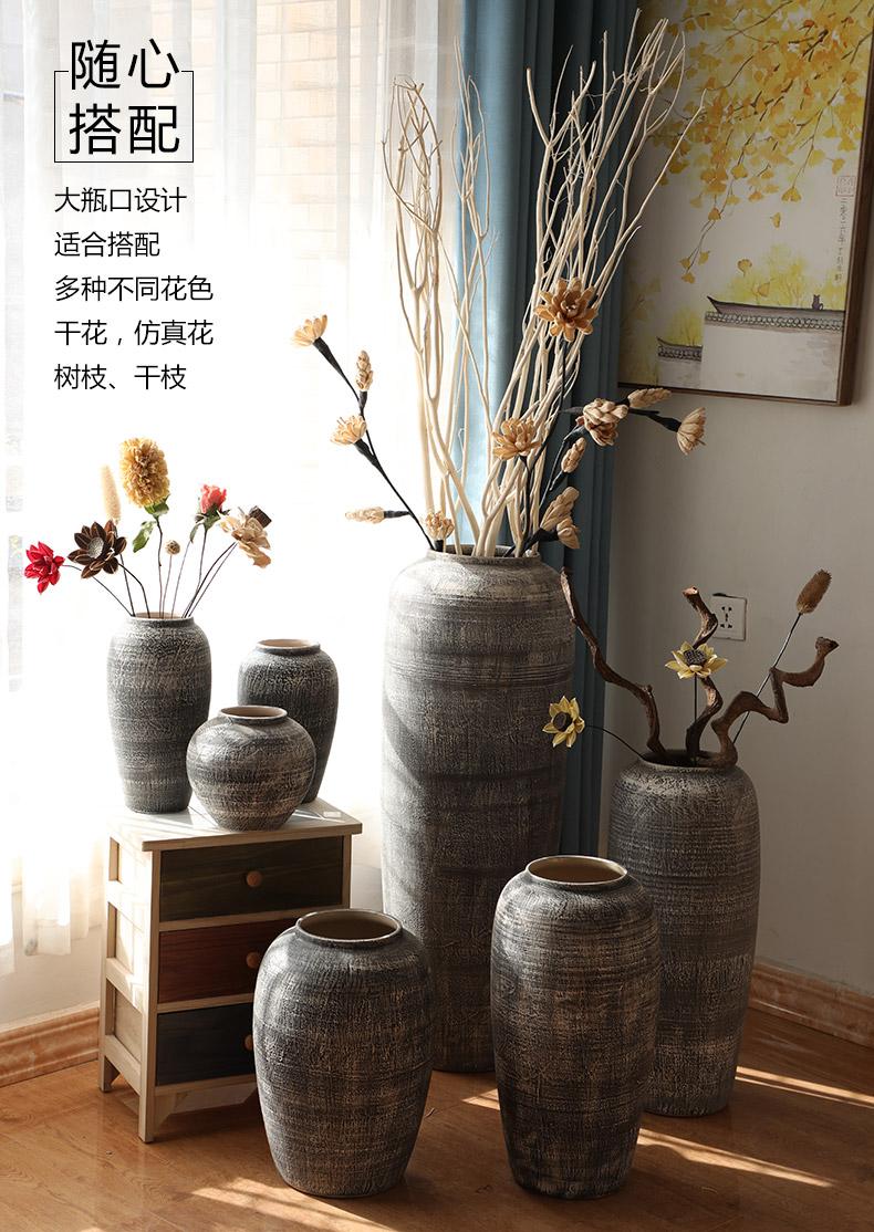 Jingdezhen do old vintage landing crude dry flower, flower implement some ceramic jar jar earthenware vase do old big flowerpot soft