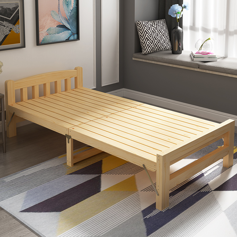 Folding Bed Single Bed Adult Solid Wood Bed Double Bed 1.2 M Economical  Household Wooden Bed ...