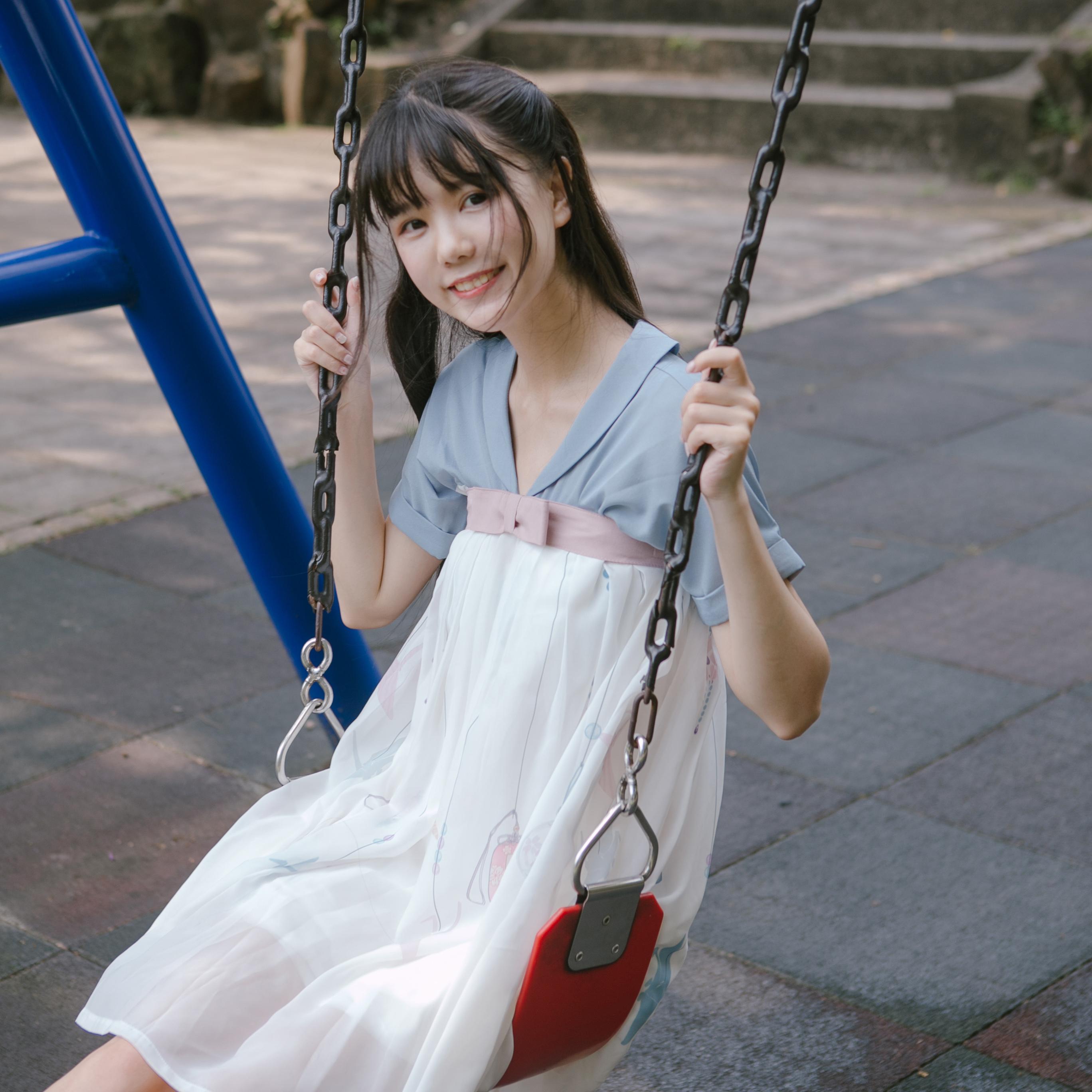 川黛 - 夏休日 原创设计 风铃纸鹤印花 国风元气少女齐胸连衣裙