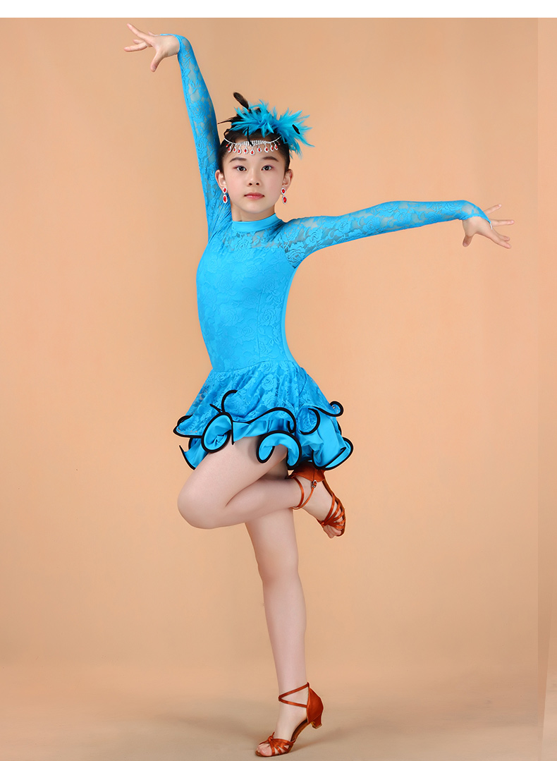 5c7dc87876e2 Girl Lace Long Sleeves Latin Dancewear Standard Kids Latin ...