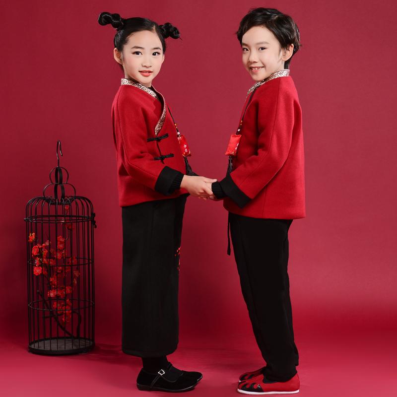儿童唐装两件套拜年礼服,孩子新年礼物