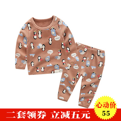 Children's clothing for men and women Underwear Lingerie Set Penguin India baby Autumn clothes Two-piece cotton 0-5 Children's wear